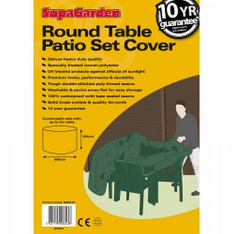 Heavy Duty Round Garden Table & Chairs Cover Extra Large - 10 Year Guarantee